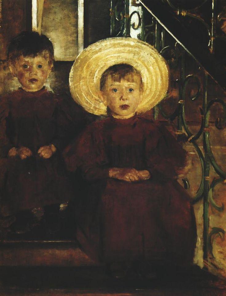 Olga Boznańska / Portret dwojga dzieci na schodach / oil on canvas 102 x 75 cm / 1898 / Muzeum Narodowe Poznań