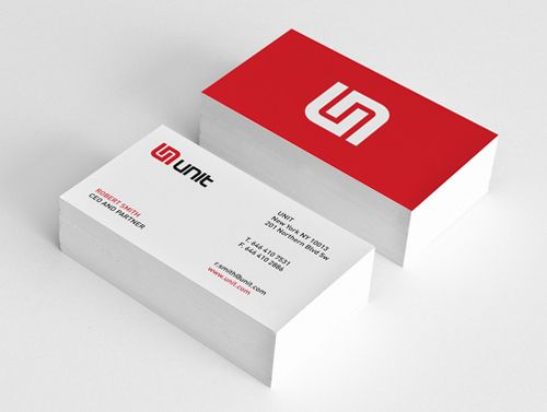 White and red business cards with white bleed