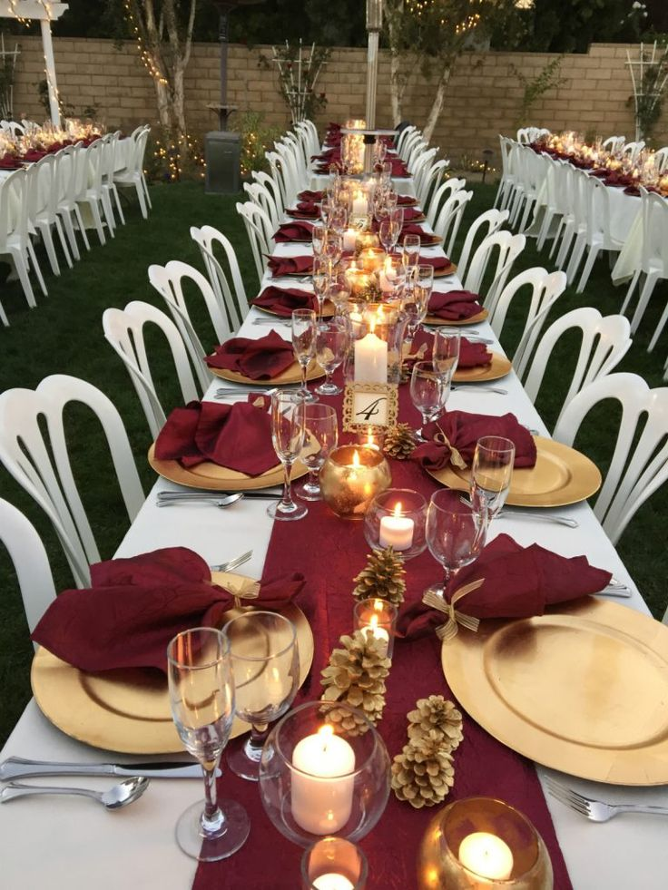 Fall Colors: Burgundy Table Runners and pinecone center pieces