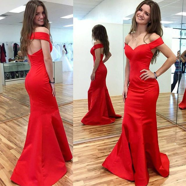 Evening/Pageant/Formal/Prom Dresses 2017 Red Sexy Off-the-Shoulder Stretch Satin