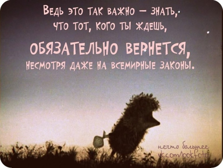 'It is so important to know that someone you`re waiting for will be back for sure in spite of the world laws' Ёжик в тумане
