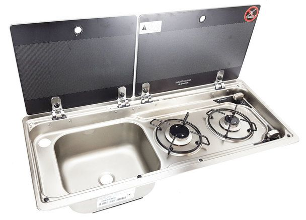 Dometic Mo9722lus Slim 2 Burner Hob Sink Combination With Glass Lids Sink Camping Stove Wellness Design