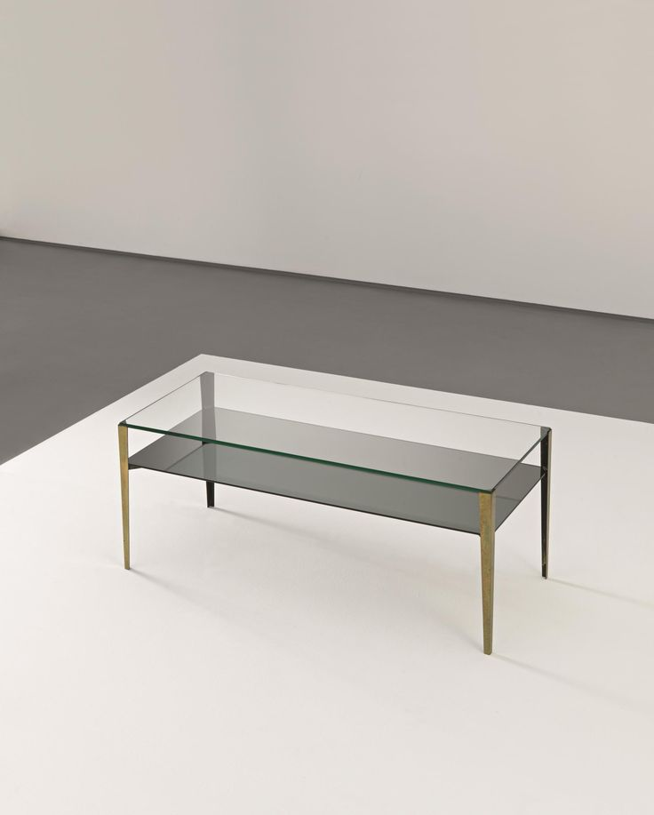 Gio Ponti Coffee Table Model No 2341 Circa 1962 Glass Opaque Glass Brass Painted Metal 40