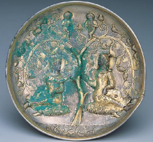 sassanian silver gilded plate , 4-5th cen AD, Miho museum, japan.