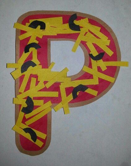 letter p preschool craft pizza make a brown or cream color p
