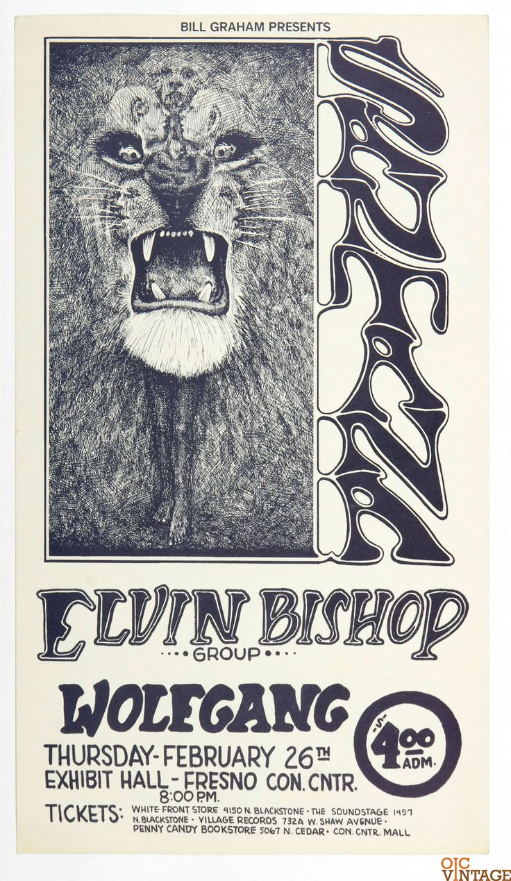 Bill Graham Presents Poster 1970 Feb 26 Santana Elvin Bishop Fresno Exhibition Hall