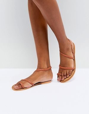 c97ea6aaef5 ASOS FLORIDOR Leather Asymmetric Flat Sandals