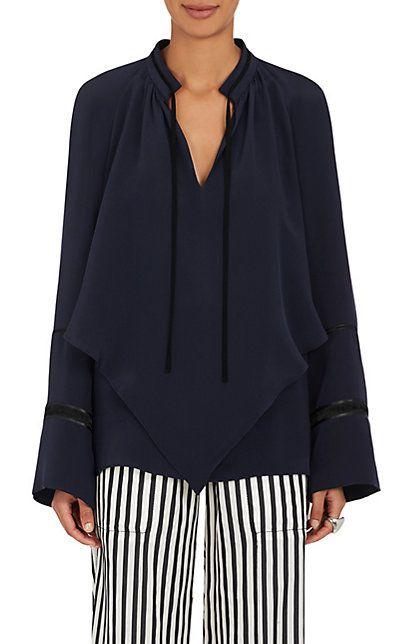 Shop Derek Lam Silk Crepe Double-Layered Tieneck Blouse - Tops - 505222570