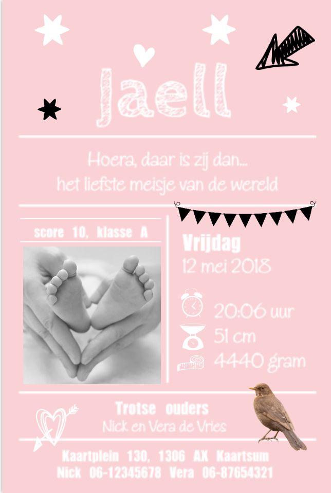 lovz   Hip en speels roze enkel geboortekaartje voor een meisje met lijntjes, foto, vogeltje, slinger, sterren en slinger.