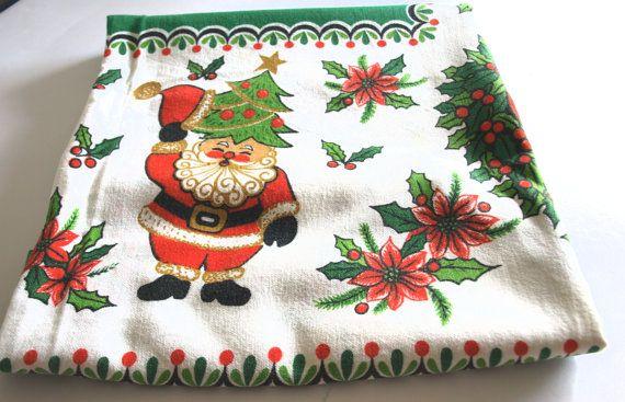 Christmas Santa Frosty Snowman Kitsch Tablecloth  by FunkyKoala
