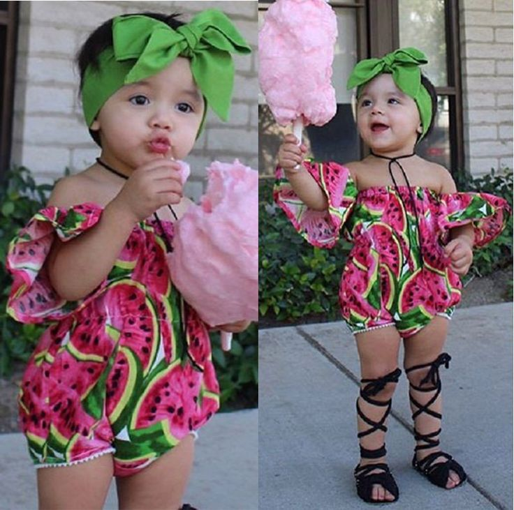 Fashion Clothing- Adorable Watermelon Off the Shoulder Romper
