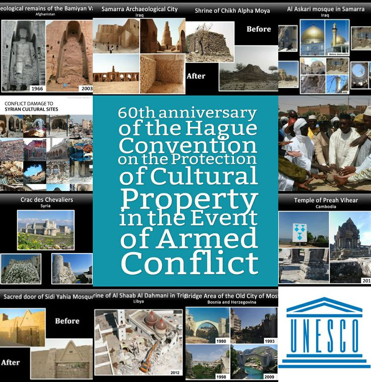 On 14 May 2014, we celebrate the 60th anniversary of the Hague Convention - the only intl agreement that focuses exclusively on the protection of cultural heritage during hostilities. It's our main tool to prevent destruction, misuse or theft of cultural property in conflict. 126 States are party to the Hague Convention. On this day, we call upon all States to work together to ratify and implement it http://ow.ly/wQqNu