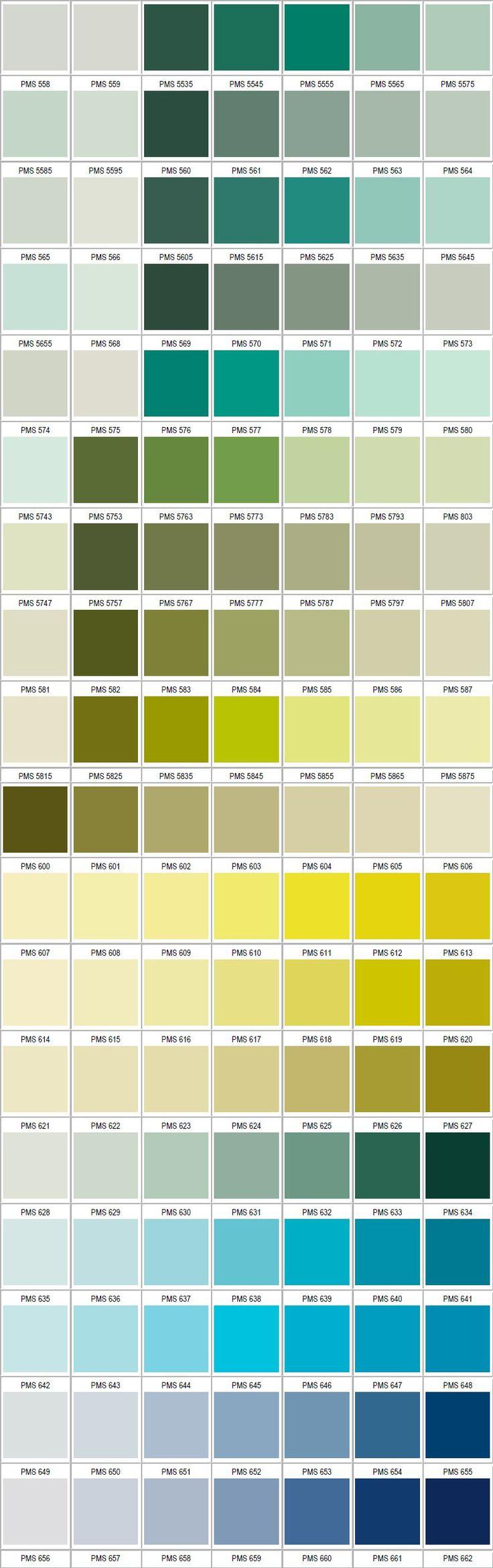 PANTONE shades of green, shades of blue & teal