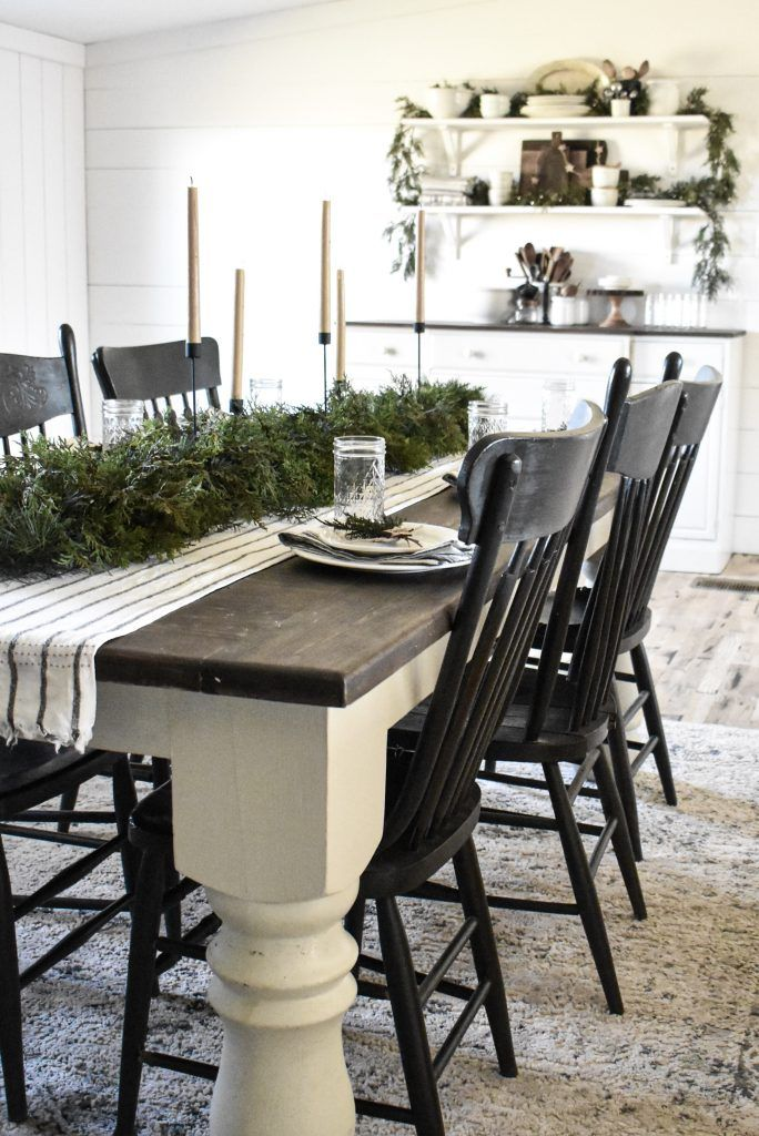 Simple Country Christmas Table Decorations Rustic Kitchen Tables White Kitchen Table Farmhouse Dining