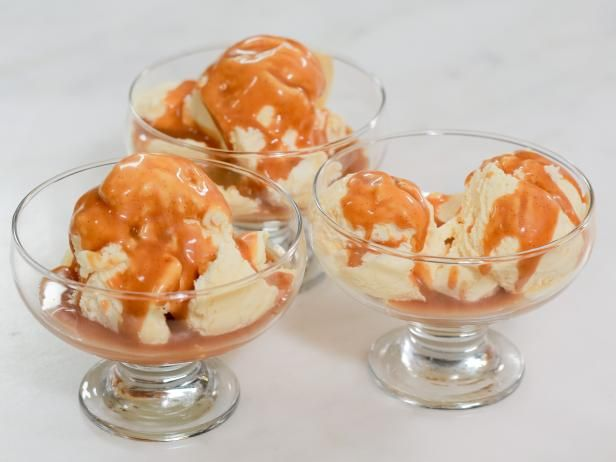 Get Passion Fruit Ice Cream with Rum-Vanilla Caramel Sauce Recipe from Food Network