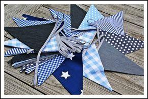 Vlaggenlijn blauw/grijs/wit