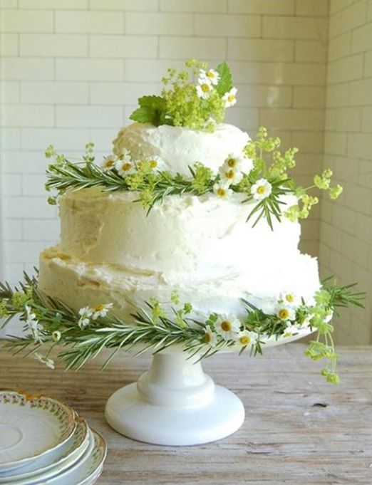 Cake Love Simple White Wedding With Herbs And Daisies