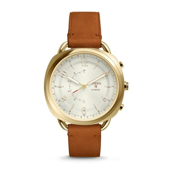 """Modernize your wristwear with Q Accomplice, our slimmest hybrid to date that looks like a watch, but acts like a smartwatch. Powered by the Fossil Q App, Fossil Q Hybrid Smartwatches are compatible with phones running Android™ OS 5.0  or iPhone 5/iOS 9.0 .Q App is provided by Fossil Group, Inc. so your data will be stored in the USA. See the Q App Privacy Policy and Terms of Use for more information (accessible below at """"Customer Care"""")."""