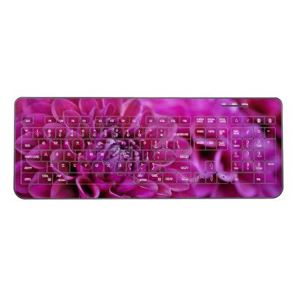 Purple dahlia flowers wireless keyboard - spring gifts beautiful diy spring time new year