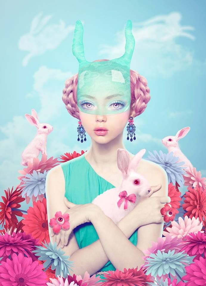 Natalie Shau alice does kitsch contemporary cyber japan pop style wonderland photo shoot for easter fun , me and the white rabbits, card or wall art print , happy easter all