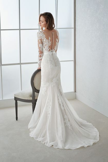 2019 V Neck Long Sleeves Mermaid Lace Wedding Dresses With Applique And Sash US$ 299.00 LCP6F7LAYS