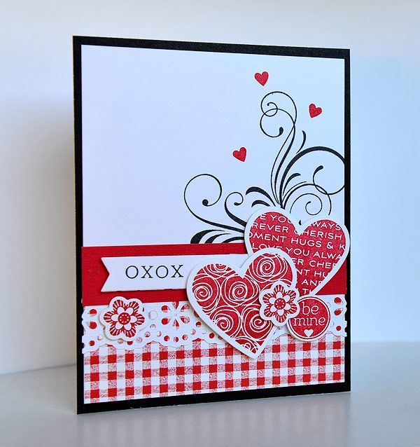 handmade Valentine card: Dynamic Duos: Weekly Winners ...like all of the red patterned papers used ...
