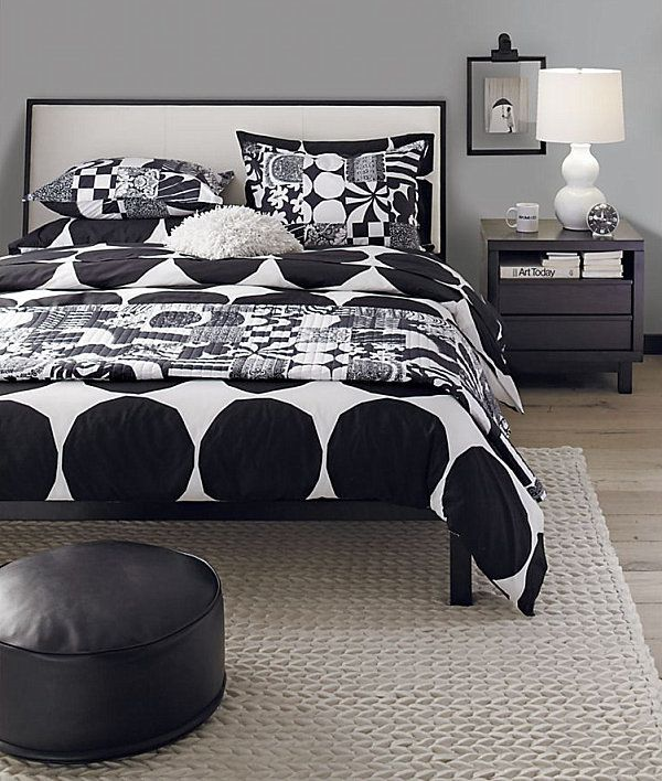 Interior, Modern Home Interior Design With Scandinavian Window Treatments : With Ligth Lamps Ideas And Black And White Idea Modern Bedding F...