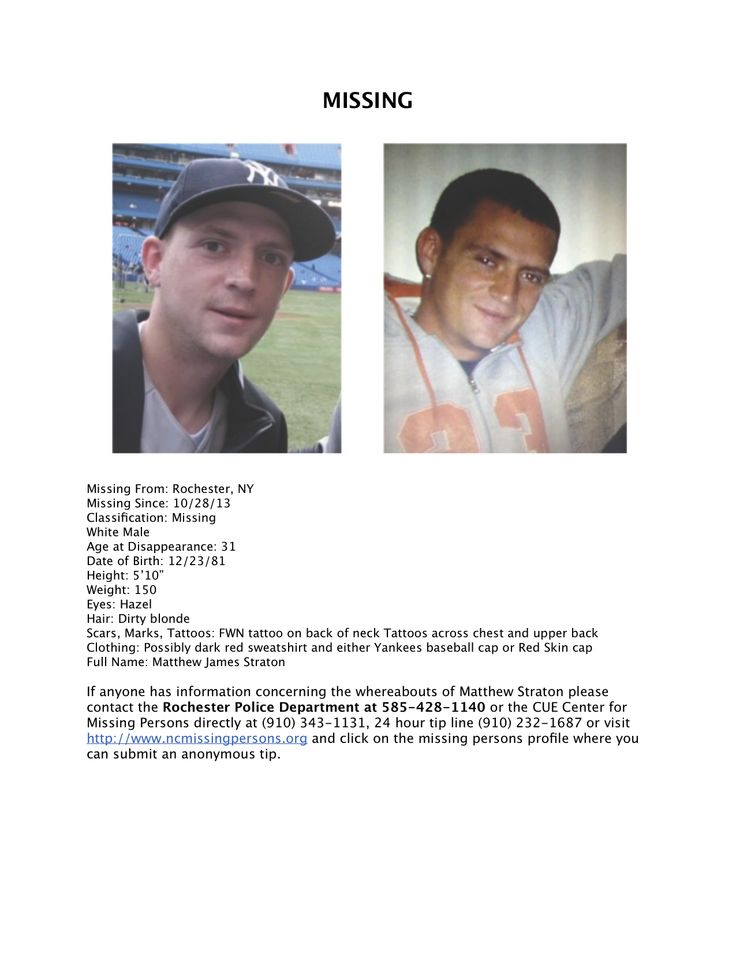 FOR IMMEDIATE RELEASE  See see full press release Click HERE http://twl.sh/177Db1U   Local animal shelter gets help from missing mans family Family of Mathew Straton slated to make donation in honor of their missing son Matthew Straton- Missing From Rochester New York http://www.ncmissingpersons.org/17132/