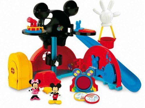 Disney Mickey Mouse Mickey's Clubhouse by Fisher Price. $199.95. Total of 24 mysteries to solve by using the mystery disks. 7 different play areas. Playset includes 12 accessories and figures. Welcome to the World Clubhouse where play with Mickey is unlimited. The Clubhouse has 7 different play areas including the Garage Kitchen Bedroom Observation Deck. Mouskadoer room, living room and hot air balloon. Watch the bed pivot in the bedroom or ride down the slide. A total of 24 m...
