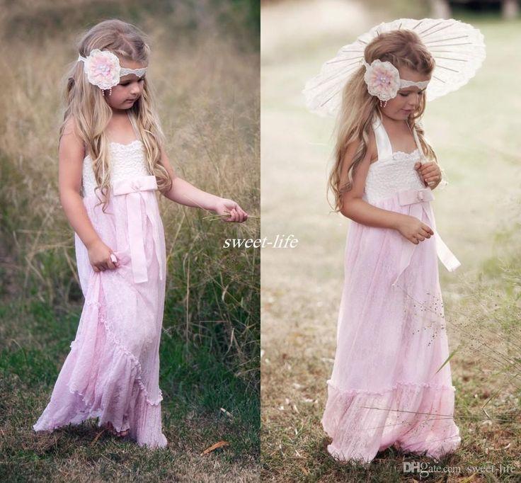Bohemian Country Beach Wedding Long Lace Flower Girl Dresses ...
