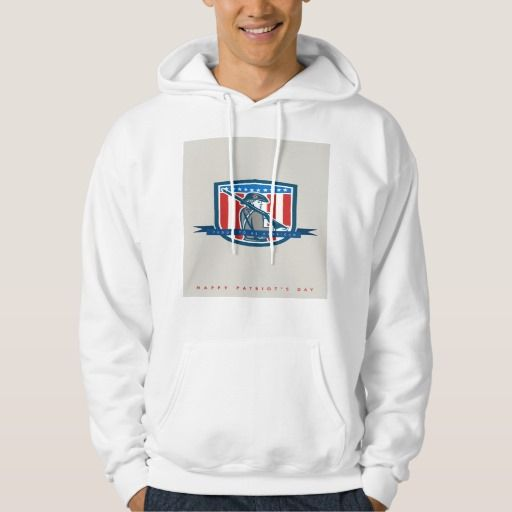 Patriots Day Greeting Card American Patriot Minute Hooded Sweatshirts. Patriots Day greeting card featuring an illustration of an American Patriot minuteman holding a musket rifle facing side set inside crest shield with stars on isolated background done in retro style with the words Proud to be American, Happy Patriot's Day. #illustration #PatriotsDayGreetingCardAmericanPatriot