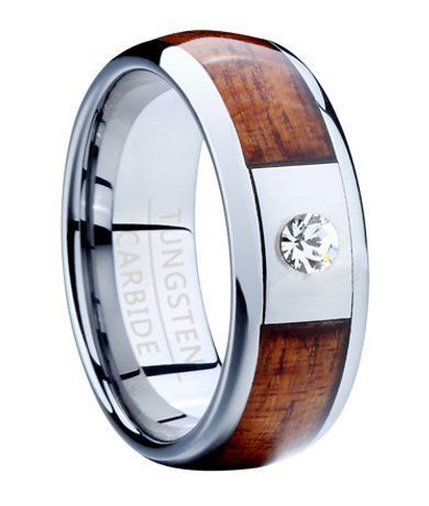 TUNGSTEN Carbide Wedding Band, 8MM Comfort Fit with Exotic Hawaiian Koa Wood Center Inlay, CZ and Polished Rounded Edges Custom Engraved | Pinterest | Tungsten…
