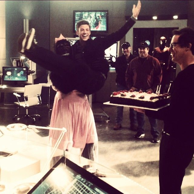 Grant Gustin celebrating his birthday on set of The Flash