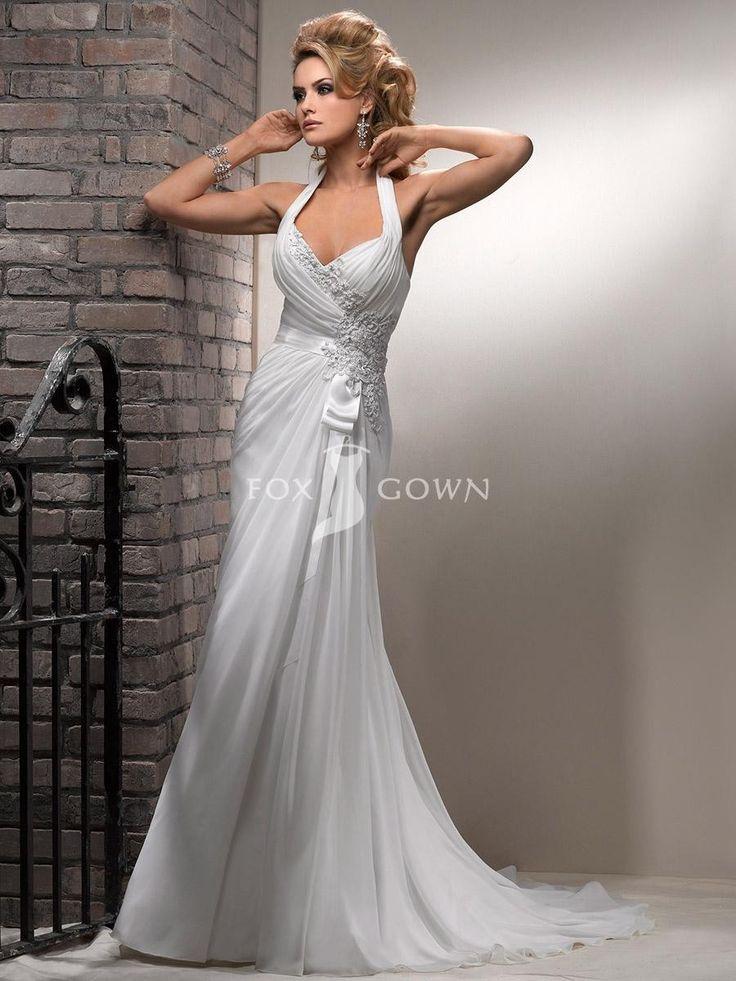 Schicke Revina Chiffon Mantel Neckholder Brautkleid mit v-Ausschnitt $340.9 Hochzeitskleider