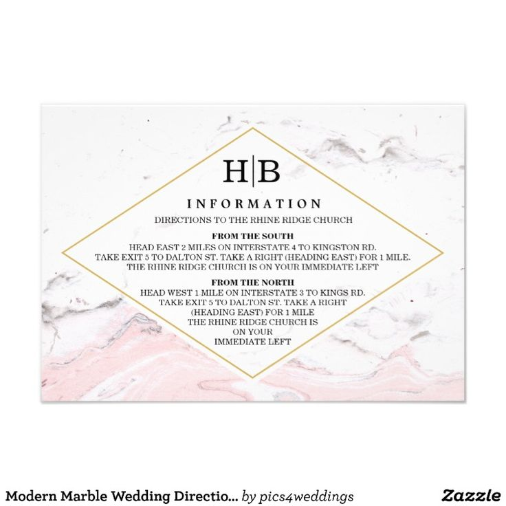 74 best printed wedding invitation templates images on pinterest modern marble wedding directions information card stopboris Choice Image