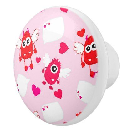 #Red Pink Heart Valentine Cute Monster Love Gift Ceramic Knob - cyo customize design idea do it yourself diy