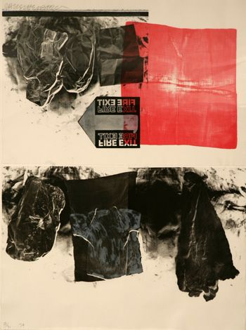 "The lower form has been ""reformulated"" into the revised form at the top. Repetition and Variation in dynamic display. Robert Rauschenberg."