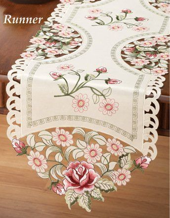 Red Rose Lacy Embroidered Decorative Table Runner