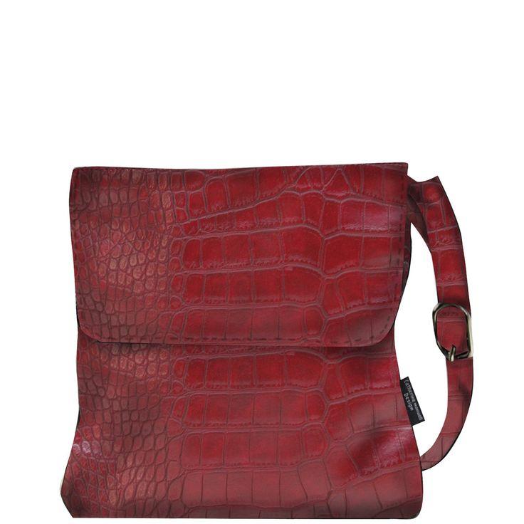 Mid Size Satchel - Matt Red Croc - Catherine Manuell Design
