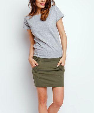Gri ve Haki Renkli Blok T-Shirt Elbise