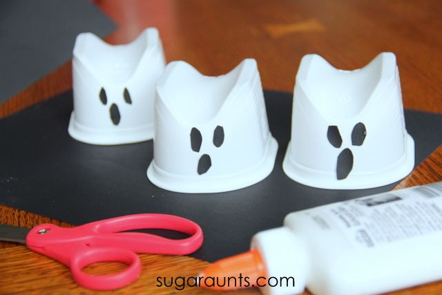 Sugar Aunts: Hanging Ghost Craft Recycled Containers