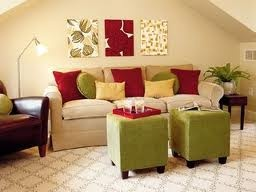 This is an accented neutral bedroom because it is mostly a cream color with red, yellow and green as accents. I think this colors go well together in this accented neutral living room.