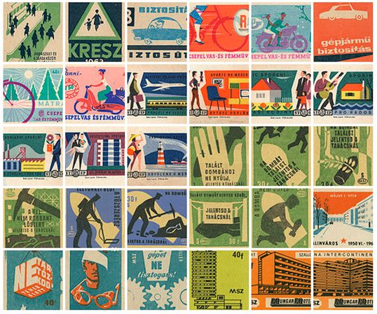 Designed across Europe, mid-1900s | Source: Matchbox Labels on Flickr    Vintage packaging is a wonderful source of inspiration. Due to the cost of photography and production limitations, illustration reigns supreme, producing some beautiful graphic solutions to the many different messages and advertisements printed on matchboxes during this era.