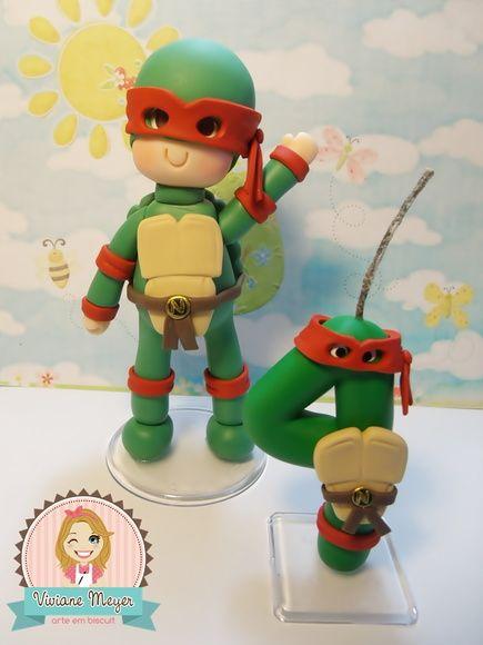 Enfeite com vela Tartaruga ninja biscuit