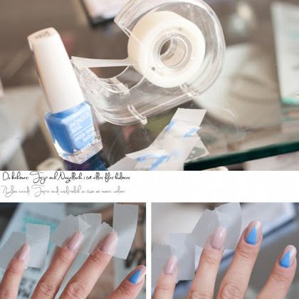 Beautiful Blue Triangle Nail Art