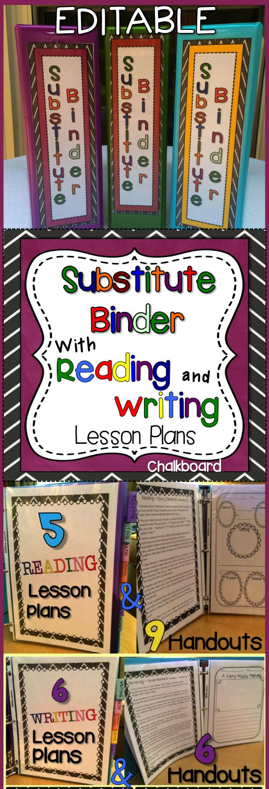 Substitute Binder with Reading and Writing Lesson Plans! Cover choices and EDITABLE templates that will make it easy for you to take a day off when you need one! Several Reading and Writing lesson plans PLUS handouts that go with each lesson are included. Comes with step by step directions.