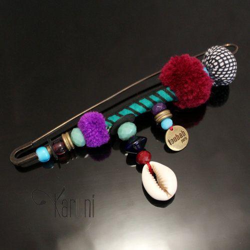 Bijoux Ethniques Broche wax Créateurs Africains TOUBAB PARIS fantaisie Toutenbrochette 02 Violet/Rouge bordeaux