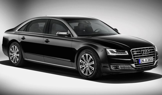 Audi A8 L Security, equipped with a 4.0 TFSI V8 biturbo and 435 HP engine. A luxury armoured vehicle