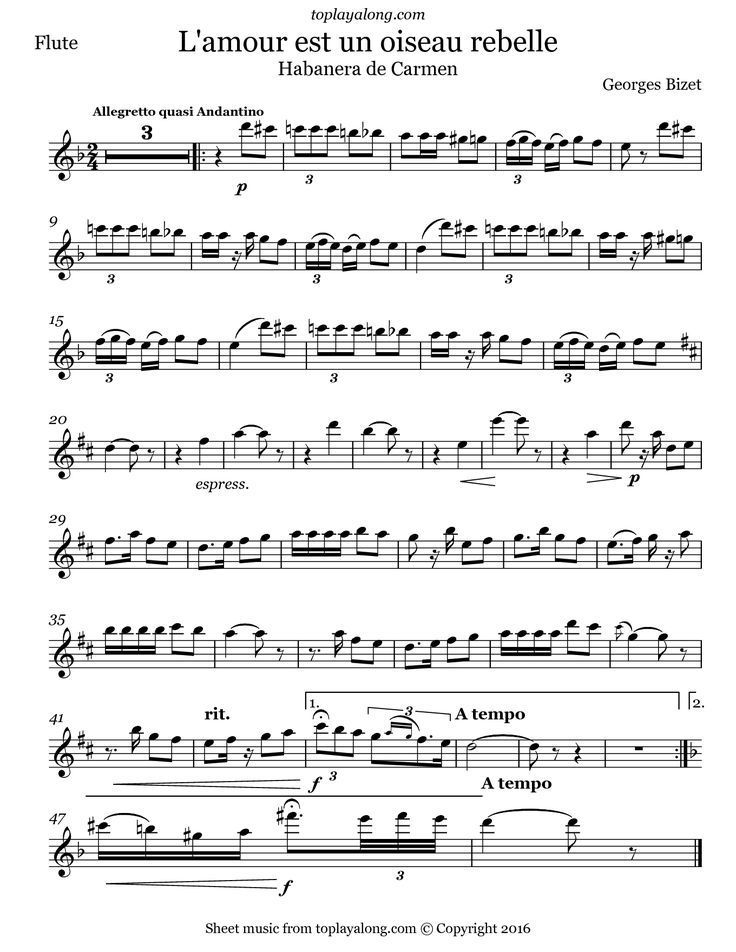 Habanera from Carmen by Bizet. Free sheet music for flute. Visit toplayalong.com and get access to hundreds of scores for flute with backing tracks to playalong.