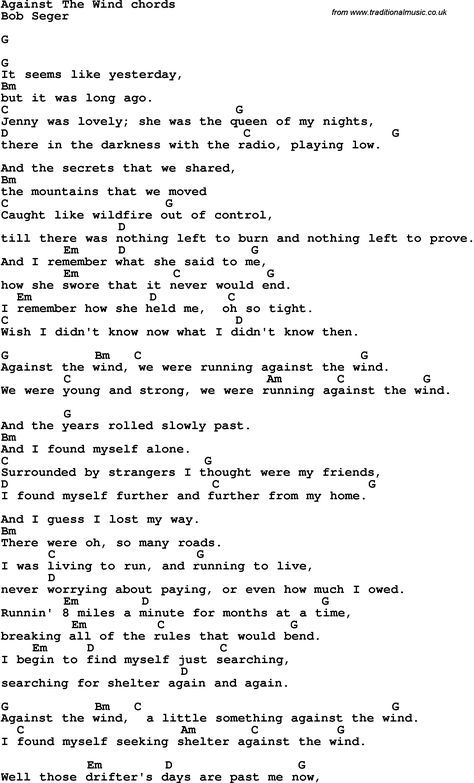 Song Lyrics with guitar chords for Against The Wind | John\'s board ...